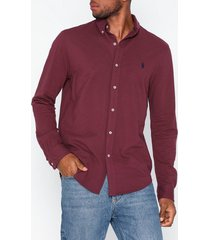 polo ralph lauren featherweight long sleeve knit skjortor wine