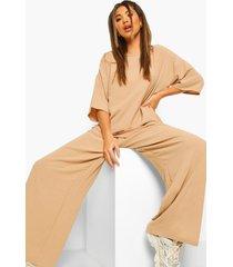 oversized luxe top en wide leg broek set, salie