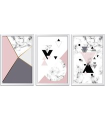 conjunto kit 3 quadro oppen house s 60x120cm escandinavo myrdal com vidro e moldura branca      quadro oppen house s decorativos - branco - dafiti