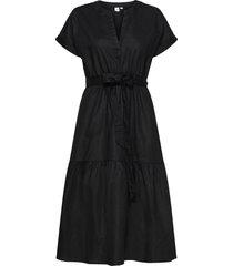 linen-cotton ruffle midi dress knälång klänning svart gap