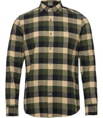 brushed twill check shirt overhemd casual groen calvin klein