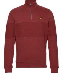 contrast panel funnel neck sweat-shirt tröja röd lyle & scott