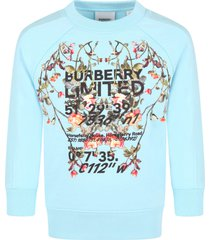 burberry light blue sweatshirt for girl with flowers