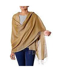 reversible silk and wool shawl, 'olive honeycomb' (india)