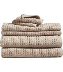 dkny 6-piece bath towel, hand towel & washcloth set in linen at nordstrom