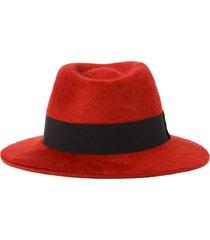 saint laurent red and black fedora hat