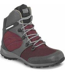 botas outdoor juden vinotinto-gris para mujer croydon