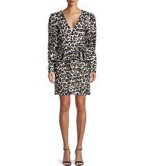 michael kors collection women's leopard embellished peplum dress - optic white - size 6