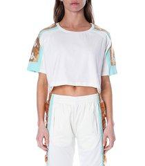 kappa women's 222 banda 10 core logo cropped t-shirt - white - size xl