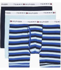 tommy hilfiger men's cotton classics boxer brief 3pk light blue/navy - s