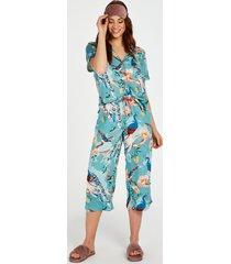 hunkemöller pyjamasbyxor med påfågelmönster blå