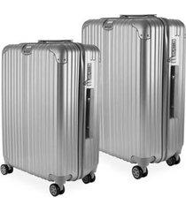 conjunto de malas de viagem suíça em policarbonato gosuper com rodinhas giro 360º 2 peças