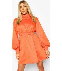 ruched neck blouson sweatshirt dress, orange