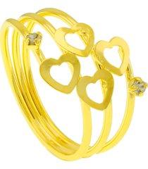 anel horus import corações três fios banhado ouro amarelo 18 k - 1010032