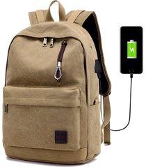 mochila con puerto externo de usb y audífonos unisex-marrón