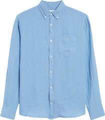 men's nn07 levon 5706 linen button-down shirt, size xx-large - blue