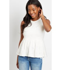 maurices womens eyelet solid babydoll tank top white