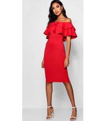bardot layered frill detail midi dress, red