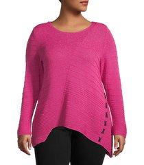 plus asymmetric cotton-blend sweater