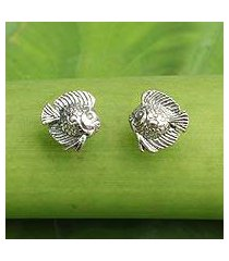 sterling silver button earrings, 'happy fish' (thailand)