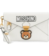 moschino clutch envelope 'teddy bear' - branco