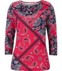 maglia fantasia con scollo a cascata e maniche a 3/4 (rosso) - john baner jeanswear