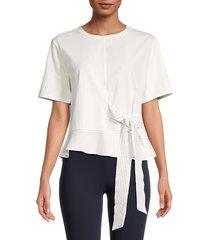 avantlook women's side-tie peplum top - white - size m