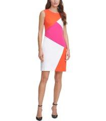 dkny sleeveless colorblocked sheath dress