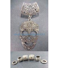 scarf ring slide sugar skull pendant slider scarf ring