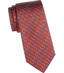 geometric printed silk tie