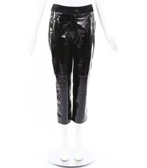 chanel patent leather suede cropped pants black sz: s