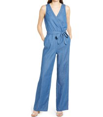 women's 1822 denim surplice chambray jumpsuit