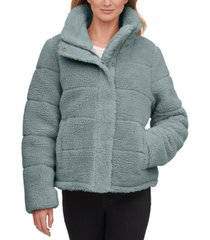 calvin klein cropped faux-fur teddy coat