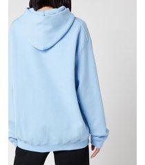 alexander wang women's garment washed hoodie with wang puff print - light blue - l