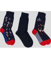 tripack calcetines marinero azul bazini