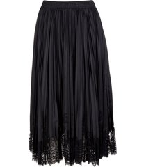 ermanno scervino black midi skirt with plisse and lace embroidery