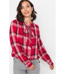 geruite blouse met strik