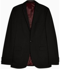 mens black single breasted super skinny fit suit blazer with notch lapels
