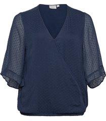 jrmaggie 3/4 sleeve blouse - k blus långärmad blå junarose