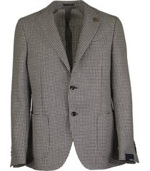 lardini single-breasted two-button jacket with pied de poule motif