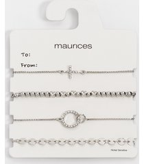 maurices womens silver mixed pull knot bracelet set gray