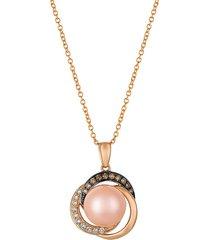 le vian women's chocolatier® 14k strawberry gold®, 9-9.5mm strawberry pearls®, chocolate diamonds® & vanilla diamonds® pendant necklace