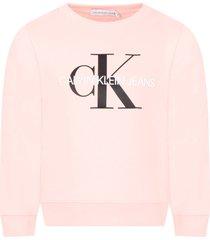 calvin klein pink sweatshirt for girl with double logo