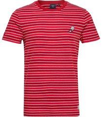 collegiate applique stripe tee t-shirts short-sleeved röd superdry