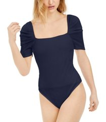 bar iii square-neck puff-sleeve bodysuit, created for macy's