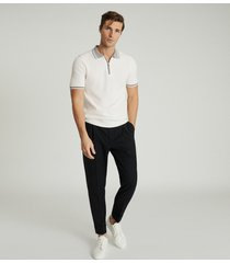 reiss andrew - textured zip neck polo shirt in white, mens, size xxl