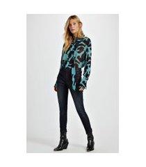 calca jeans rock skinny midi ziper resicolo jeans - 38