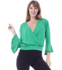 blusa amazonia vital transpassada manga sino feminina - feminino