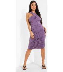 petite strakke asymmetrische midi jurk met bandjes, purple