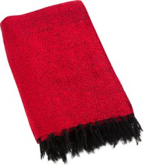 native yoga solid color woven blanket red cotton